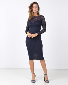 AX Paris Lace Off The Shoulder Midi Dress Navy