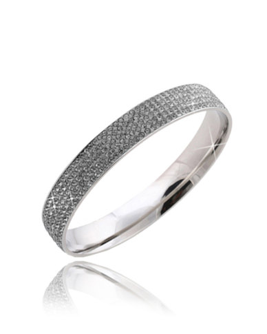 Skyla Jewels 5 Row Grey Stainless Steel Crystal Bangle