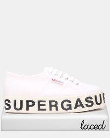 Superga Canvas Flatform Bold Letters White