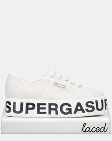 Superga Canvas Flatform Bold Letters Grey Seashell