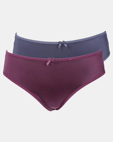 Playtex Shimmer 2 Pack Hi-cut Panty Blue & Purple