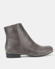 Gino Paoli Ankle Boots with Trim Grey