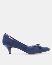 Gino Paoli Microfibre Kitten Heel with Bow Detail Navy