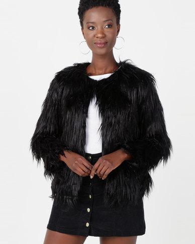 Utopia Shaggy Faux Fur Jacket Black