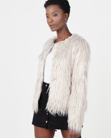 Utopia Shaggy Faux Fur Jacket Grey