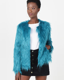 Utopia Shaggy Faux Fur Jacket Blue