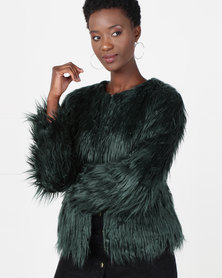 Utopia Shaggy Faux Fur Jacket Emerald