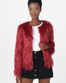 Utopia Shaggy Faux Fur Jacket Burgundy