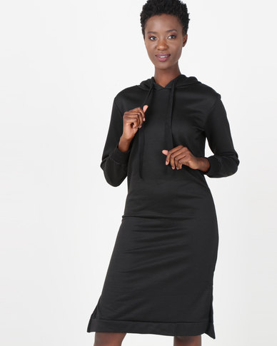 Utopia Hooded Sweater Dress Black