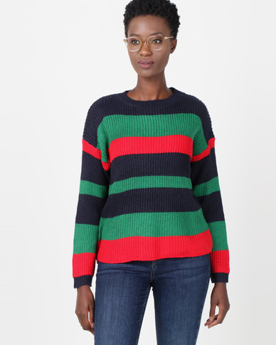 Utopia Striped Jumper Green/Navy/Red