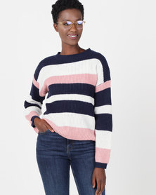 Utopia Striped Jumper Pink/Milk/Navy