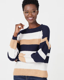 Utopia Striped Jumper Stone/Navy/Milk