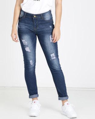 Utopia Ripped Skinny Leg Jeans Blue