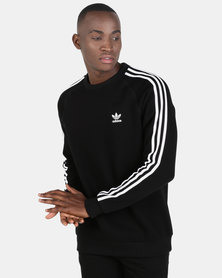 adidas Originals Mens 3 Stripe Crew Sweatshirt Black