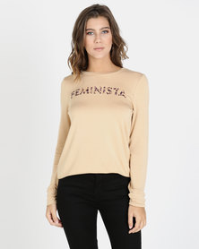 Brett Robson Feminista Long Sleeve Sweater Nude
