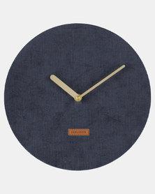 Present Time Wall Clock Corduroy Dark Blue