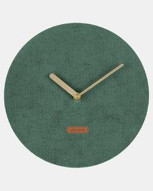 Present Time Wall Clock Corduroy Dark Green