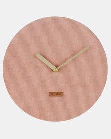 Present Time Wall Clock Corduroy Pink