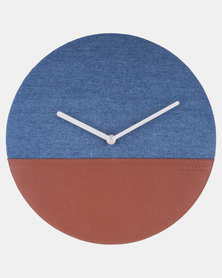 Present Time Wall Clock Leather & Jeans Blue