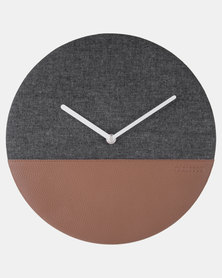 Present Time Wall Clock Leather & Jeans Grey