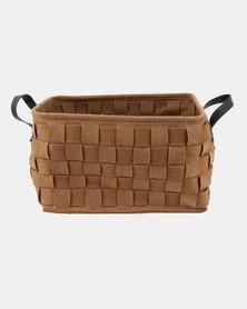 Present Time Storage Bag Felt Square Large Basket Brown