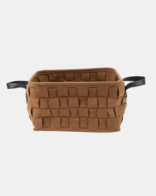 Present Time Storage Bag Felt Square Basket Dark Brown