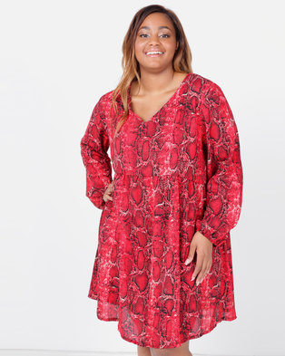 Utopia Plus Snake Print Georgette Tunic Dress Red