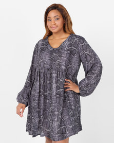 Utopia Plus Snake Print Georgette Tunic Dress Grey