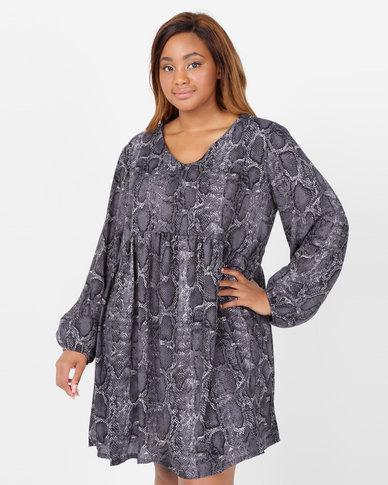 Utopia Plus Snake Print Georgette Tunic Dress Grey