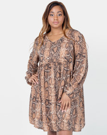 Utopia Plus Snake Print Georgette Tunic Dress Tan