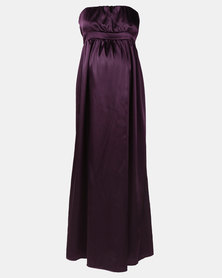 Hannah Grace Maternity Grape Satin Boob Tube Dress