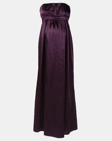 Hannah Grace Maternity Grape Satin Boob Tube Dress