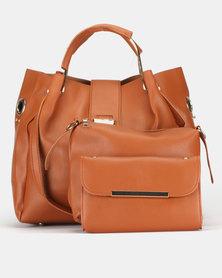 Utopia 3 Piece Handbag Set Tan