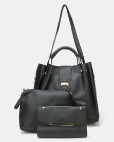 Utopia 3 Piece Handbag Set Black