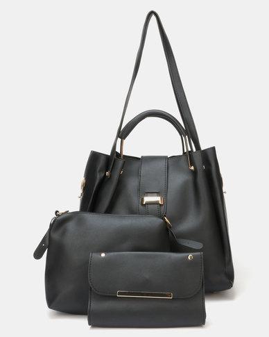 Utopia 3 Piece Handbag Set Black