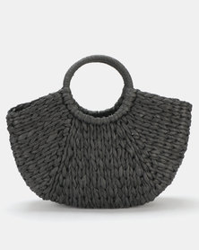 Utopia Round Handle Straw Bag Black