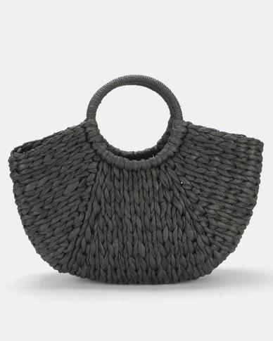 Utopia Round Handle Straw Bag Black