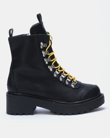 EGO Kris Chunky Lace Up Boots Black