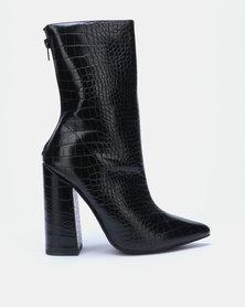 EGO Laura Block Clean Boots Black Croc