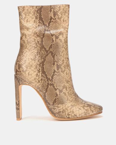 EGO Boomslang Ankle Snakeskin Boots Nude