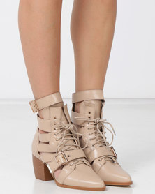 EGO Cotto Western Lace Up Boots Nude