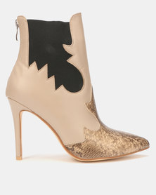 EGO Gone Wild Chelsea Stiletto Boots Nude/Snake