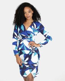 Closet London Printed Long Sleeve Wrap Jersey Dress Multi