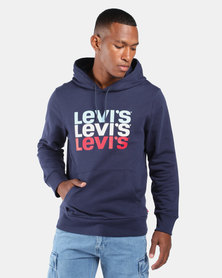 Graphic Pullover Hoodie Blue