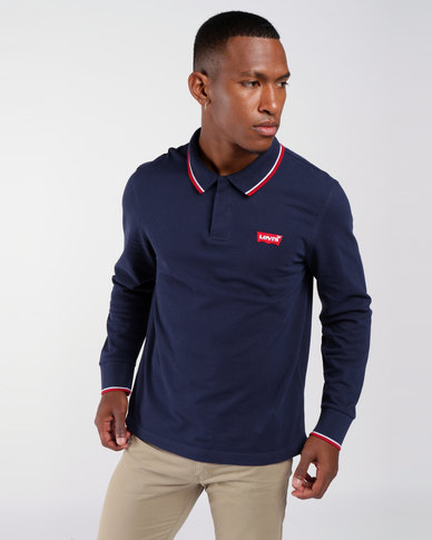 Long Sleeve Housemark Polo Blue