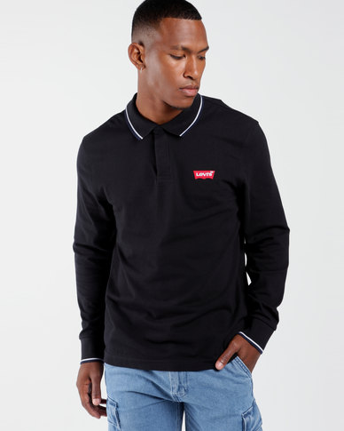 Long Sleeve Housemark Polo Black