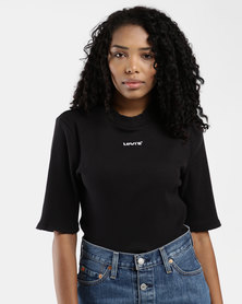 Ribbed Slim Tee Black