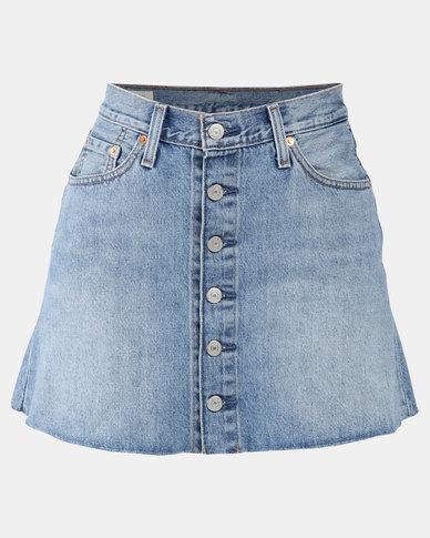 Button Front Mini Skirt Blue
