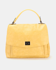 Queue Soft Flapover Shopper Bag With Pocker Yellow