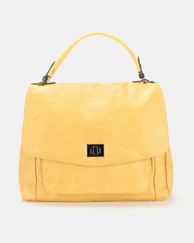 Queue Soft Flapover Shopper Bag With Pocker Yellow